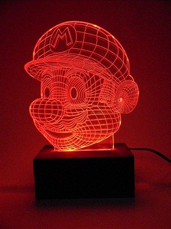 Luminária de acrílico -  Super Mario Bros 3D - Vermelho
