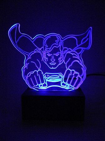Luminária de acrílico -  Super Man Super Man Voando - Azul