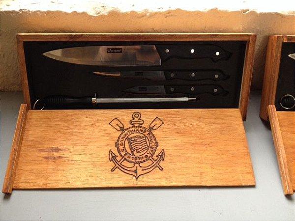 Faqueiro / Amol. c4 Peças + Caixa de madeira Personalizada - Corinthians Exclusivo