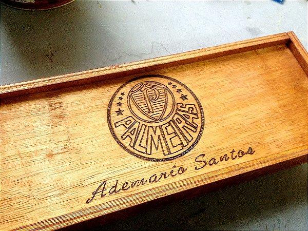 Faqueiro / Amol. c4 Peças + Caixa de madeira Personalizada - Palmeiras