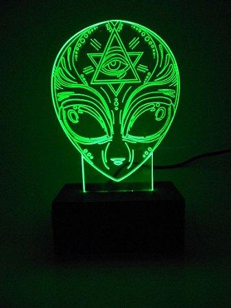 Luminária de acrílico - Cabeça de ET - Verde