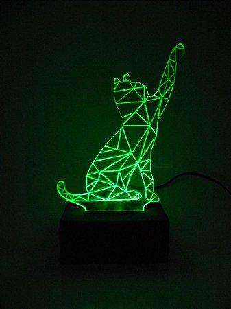 Luminária de acrílico - Gato cat 3D - Verde