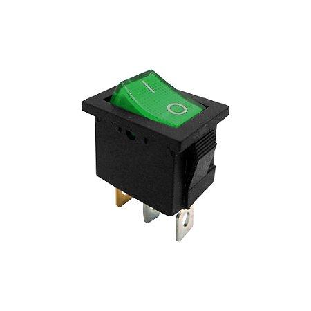 Chave Gangorra KCD1-102N 3T 6A 250V I/O Neon (Verde)