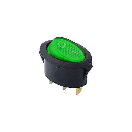 Chave Gangorra Oval C/Neon KCD1-115N 6A-250V (Verde)