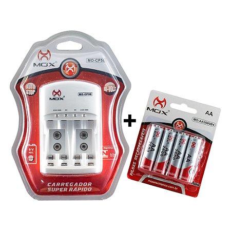 Kit 4 Pilhas MOX Recarregáveis AA 1,2V 2600mAh + Carregador