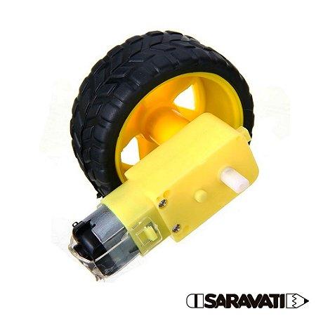 Kit Motor DC Amarelinho + Roda para Robô / Carrinho
