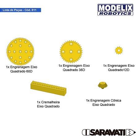 Modelix 811 - 5 Engrenagens diferentes, Furo quadrado (3 Tamanhos + 1 Cremalheira + 1 Cônica)