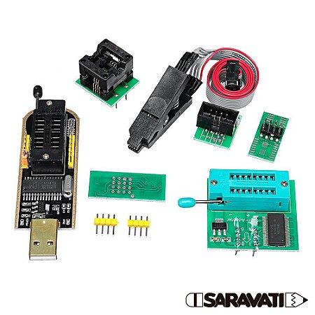 Kit Programador Gravador EPROM USB SOIC8 CH341A Garra Clip Adaptador 1.8V