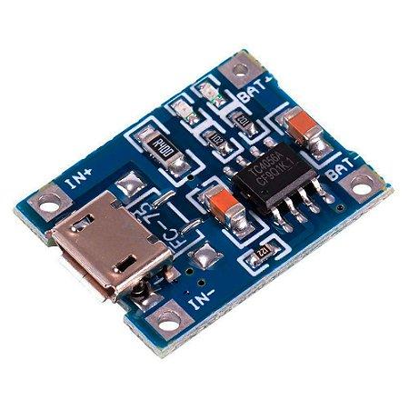 Módulo Carregador de Bateria - Lithium Lítio - TP4056 - 5V 1A Micro USB