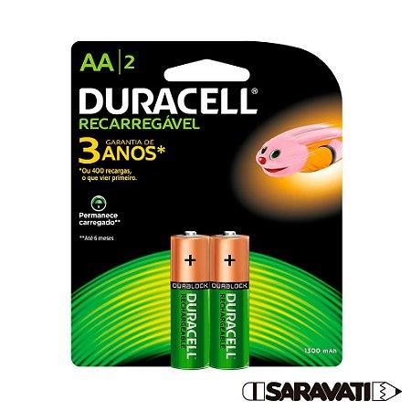 Pilha Duracell AA Recarregável 1,2V 1300mAh NiMH 2 Pilhas
