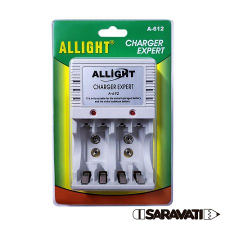 Carregador de Pilhas AA / AAA e Bateria 9V ALLIGHT Charger Expert A-612
