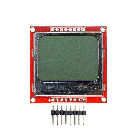 Display LCD Nokia 5110 84x48 Placa Vermelha - Backlight Azul