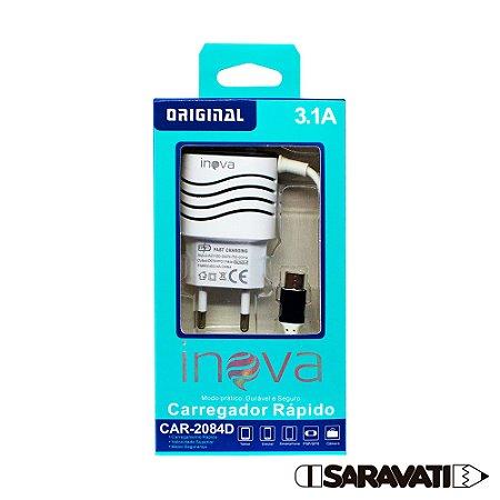 Fonte Carregador USB-C 100-240V 5V 3.1A CAR-2084D Inova