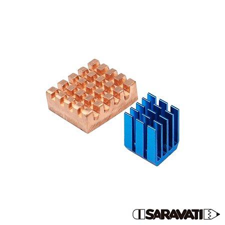 Kit 2 Dissipador de Calor Raspberry Pi 3 Alumínio Azul/Cobre
