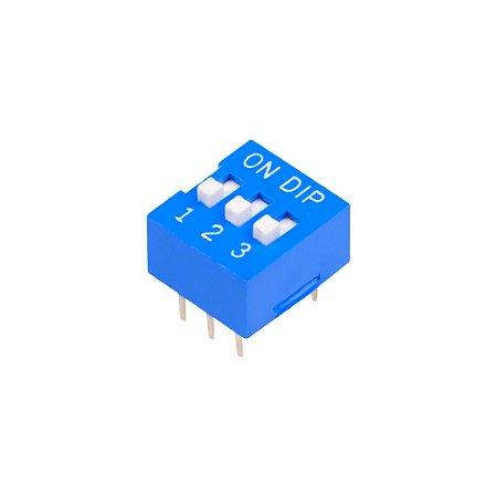 Chave DIP Switch KF1001 Azul 3 Vias 180