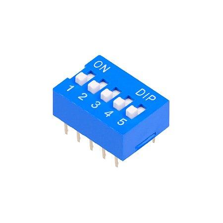 Chave DIP Switch KF1001 Azul 5 Vias 180
