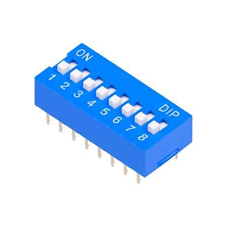 Chave DIP Switch KF1001 Azul 8 Vias 180