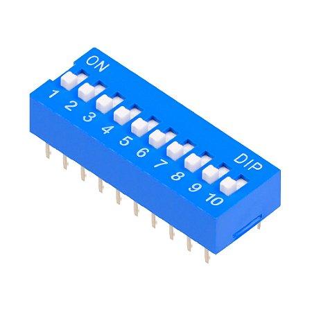 Chave DIP Switch KF1001 Azul 10 Vias 180