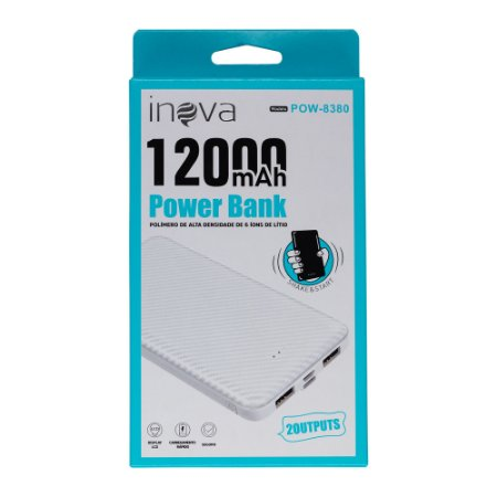 Carregador Power Bank 12000mAh POW-8380 Inova Branco