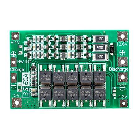 Placa Proteção BMS 3S 12,6V 60A Bateria Lipo Li-ion Balance