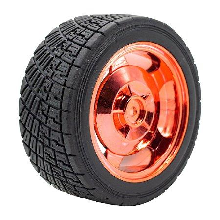 Roda Pneu de Borracha 85mm Carrinho/Robô/Motor DC (Vermelho)
