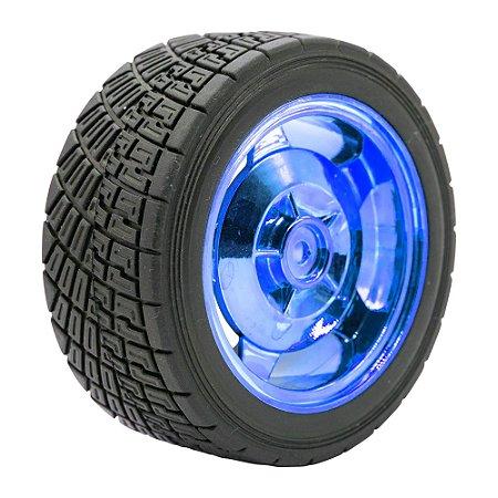 Roda Pneu de Borracha 85mm Carrinho/Robô/Motor DC (Azul)