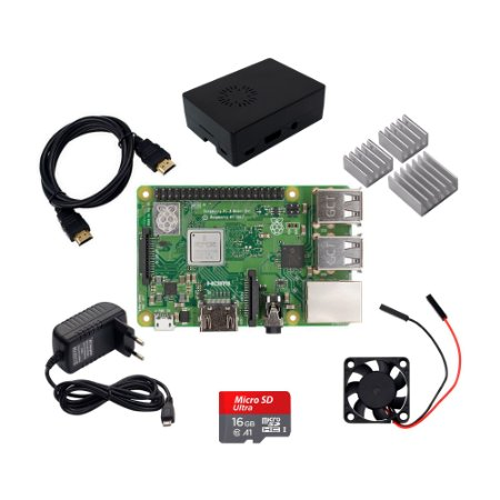 Kit Raspberry Pi 3 B+ (Fonte + Case + Cooler + Dissip.) 16GB