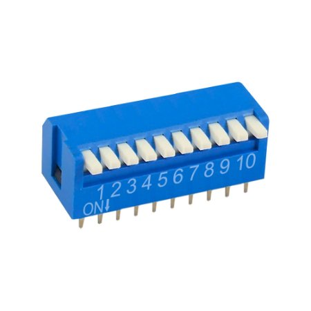 Chave DIP Switch KF1002 10 Vias 90 Azul