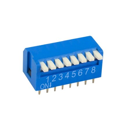 Chave DIP Switch KF1002 8 Vias 90 Azul