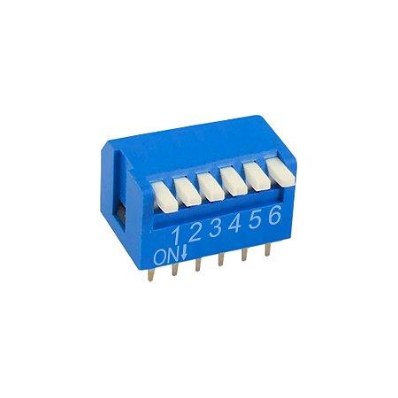 Chave DIP Switch KF1002 6 Vias 90 Azul