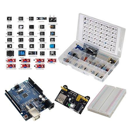 Kit 37 Sensores e Módulos + Uno Protoboard Fonte MB102 Case