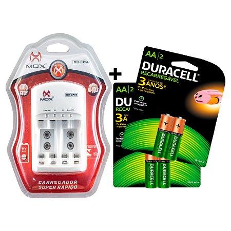 Kit 4 Pilhas Duracell Recarregáveis AA + Carregador MOX