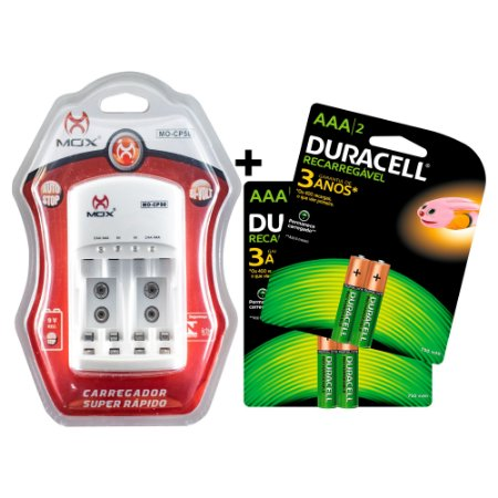 Kit 4 Pilhas Duracell Recarregáveis AAA + Carregador MOX