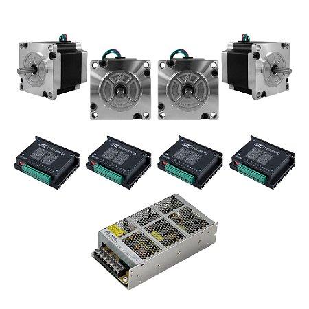 Kit 4 Motor Nema 23 13K + 4 TB6600 5A + Fonte 24V