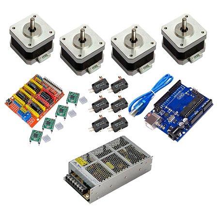 Kit CNC Shield Uno 4 Motor Nema 17 4Kg + 4 A4988 + Fonte 24V