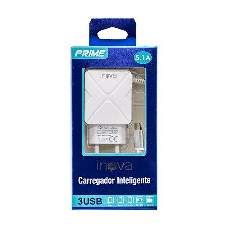 Fonte Carregador USB-C 100-240V 5V 5.1A 3 USB Inova