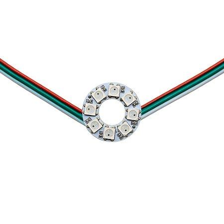 Anel LED RGB Endereçável 5050 WS2812 8 LEDs 26mm