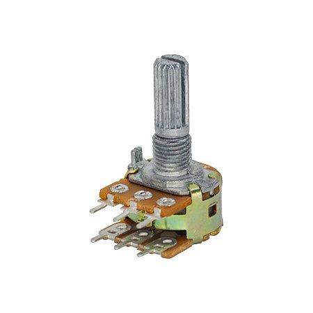 Potenciômetro Rotativo Linear B 100K L20 WH148-2 Duplo 6T