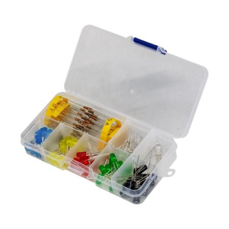 Kit LED 5mm + Capacitores + Resistores + Case
