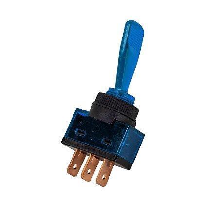 Chave Alavanca ASW-13D c/ Neon 12V 3 Terminais (Azul)