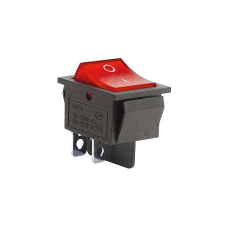 Chave Gangorra KCD4-201C 16A 250V AC (Vermelho)