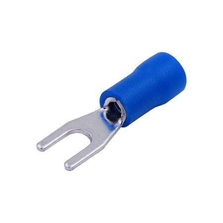 Terminal Pré-Isolado Tipo Garfo 4mm (Azul)