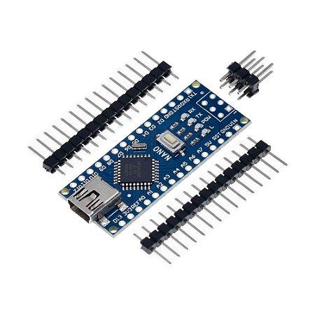 Placa Nano V3 ATmega328P USB Mini-B + Pinos para Soldar