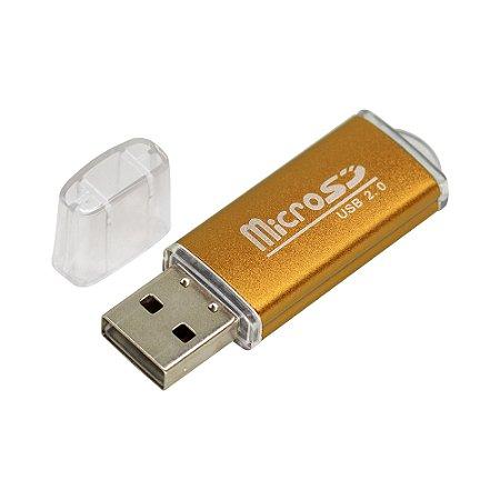 Leitor de Cartão Micro SD Card Adaptador USB (Dourado)