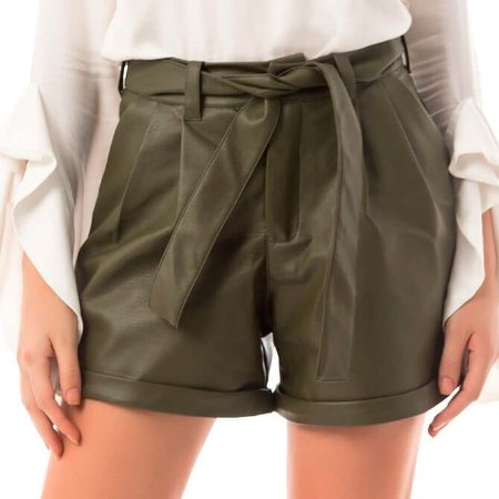 Shorts Leather - Verde