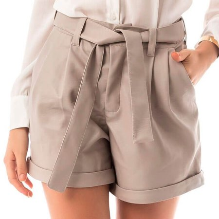 Shorts Leather - Bege
