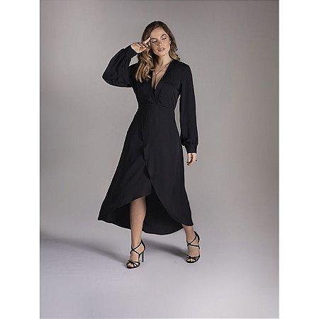 Vestido decote V midi - Preto