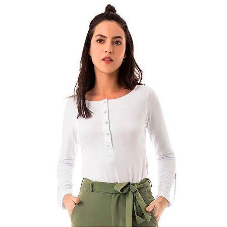 Blusa Malha com Botões - Branca