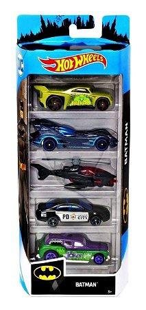 Carrinhos Hot Wheels Pacote com 5 Carros Batman Dc Fyl09