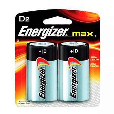 Pilha Alcalina D Max Energizer Cartela Com 2 Pilhas